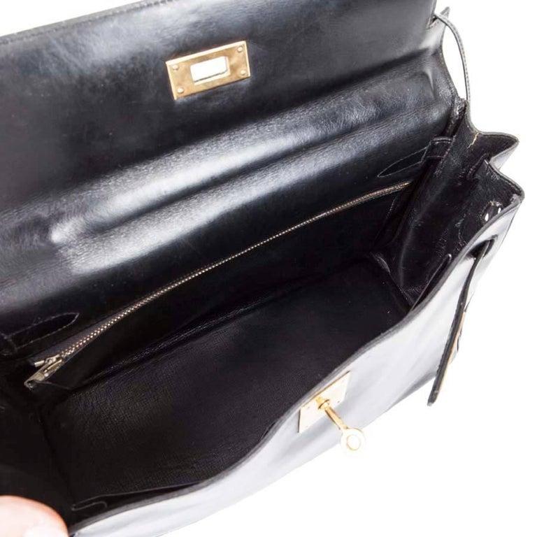 HERMES Vintage Kelly 32 Bag in Black Box Leather For Sale 2