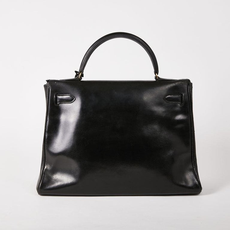 HERMES Vintage Kelly 32 Bag in Black Box Leather 2
