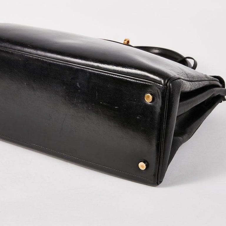 HERMES Vintage Kelly 32 Bag in Black Box Leather 4