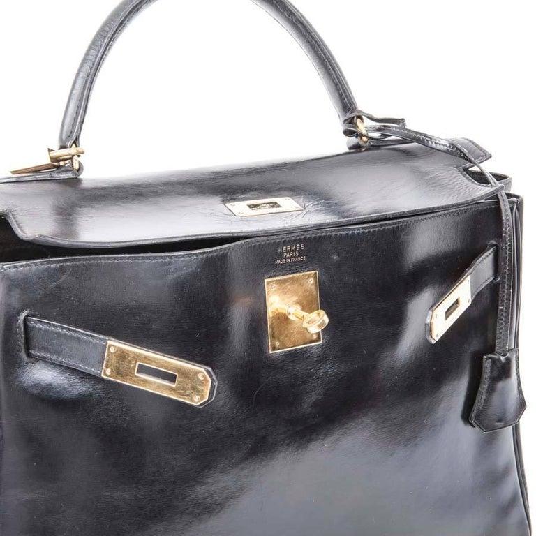 HERMES Vintage Kelly 32 Bag in Black Box Leather For Sale 5