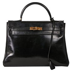 HERMES Vintage Kelly 32 Bag in Black Box Leather