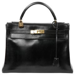 HERMES Vintage Kelly 32 Black Box Bag