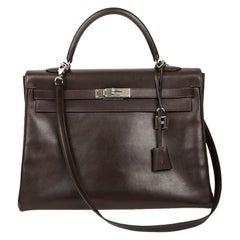 HERMES Vintage Kelly 35 Brown Box Leather Bag