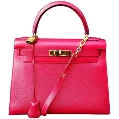Hermès Vintage Kelly Bag Sellier Courchevel Rouge Vif Gold Hdw 28 cm