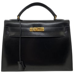 Hermes Vintage Kelly Handbag Noir Black Box Calf with Gold Hardware 32, 1991.