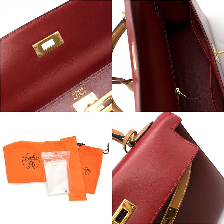 Hermes Vintage Kelly Sellier 28 Tri-Colour Box Leather Bag For Sale 6