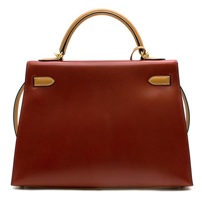Hermes Vintage Kelly Sellier 28 Tri-Colour Box Leather Bag In Good Condition For Sale In London, GB