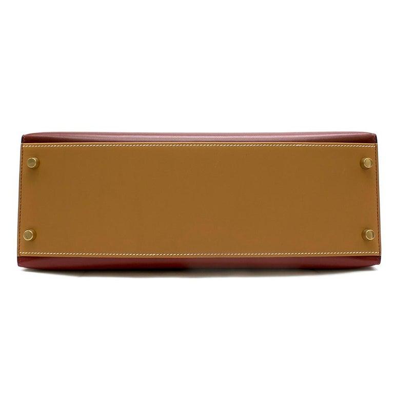 Hermes Vintage Kelly Sellier 28 Tri-Colour Box Leather Bag For Sale 1