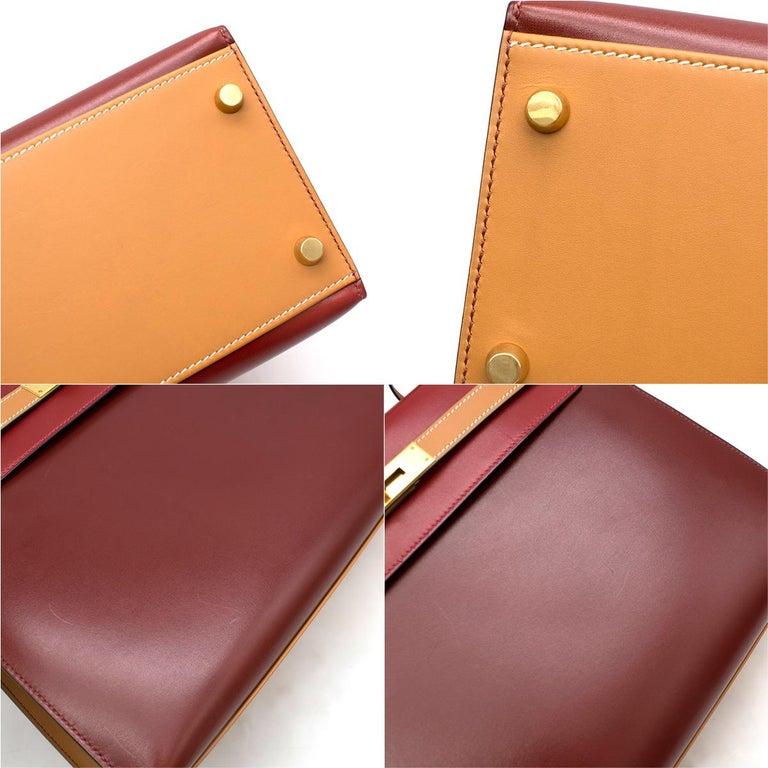 Hermes Vintage Kelly Sellier 28 Tri-Colour Box Leather Bag For Sale 3