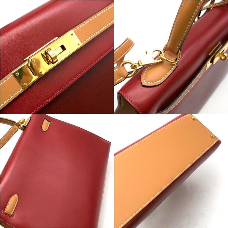 Hermes Vintage Kelly Sellier 28 Tri-Colour Box Leather Bag For Sale 4