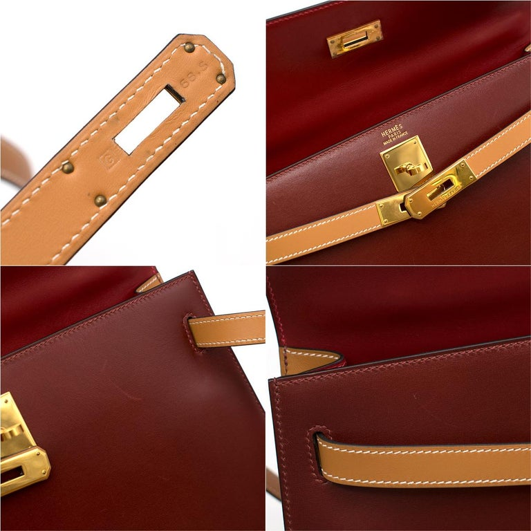 Hermes Vintage Kelly Sellier 28 Tri-Colour Box Leather Bag For Sale 5