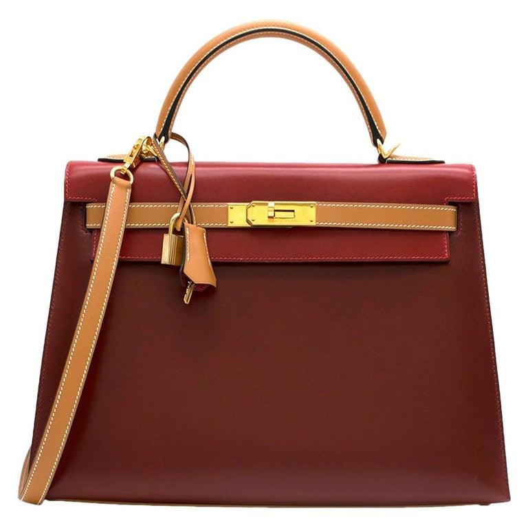 Hermes Vintage Kelly Sellier 28 Tri-Colour Box Leather Bag For Sale