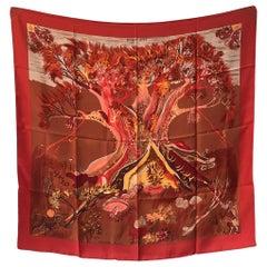 Hermes Vintage Kuggor Tree Silk Scarf in Red