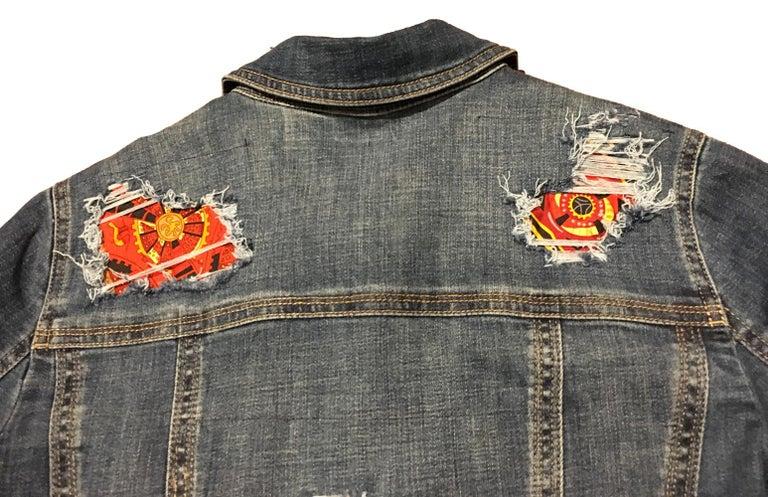 Hermes Vintage La Mecanique des Idees Silk Scarf Distressed Denim Jacket Medium For Sale 5