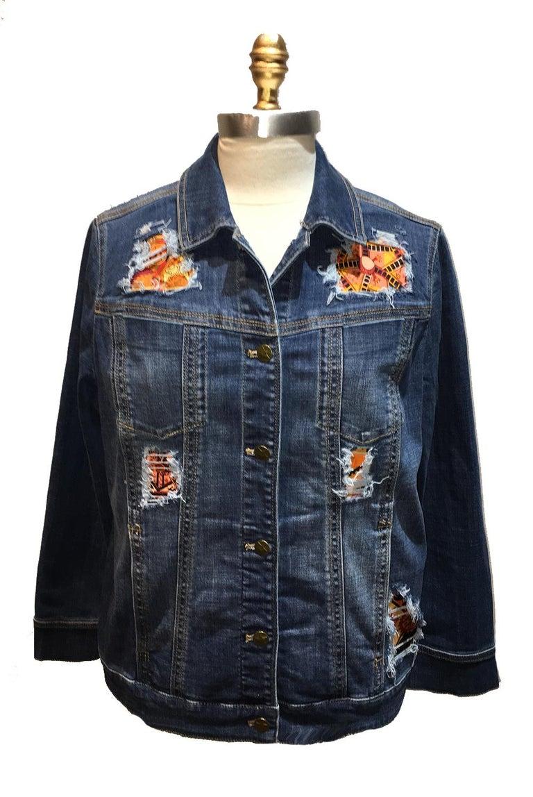 Gray Hermes Vintage La Mecanique des Idees Silk Scarf Distressed Denim Jacket Medium For Sale