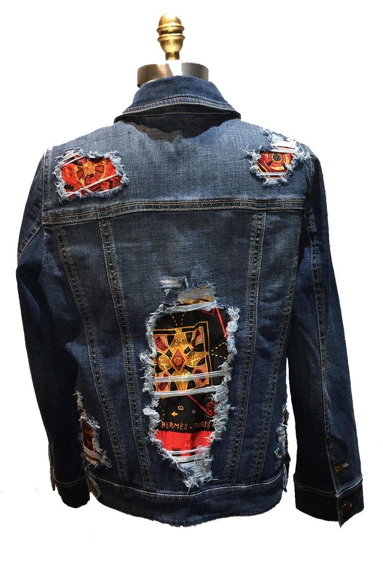Hermes Vintage La Mecanique des Idees Silk Scarf Distressed Denim Jacket Medium In New Condition For Sale In Philadelphia, PA