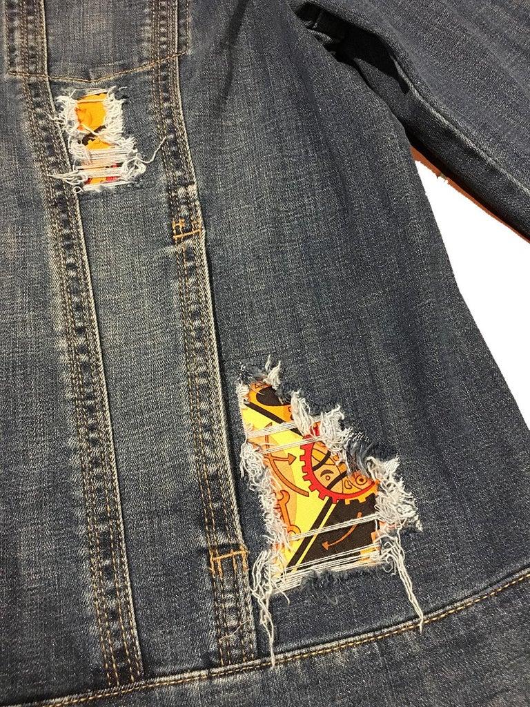 Women's Hermes Vintage La Mecanique des Idees Silk Scarf Distressed Denim Jacket Medium For Sale