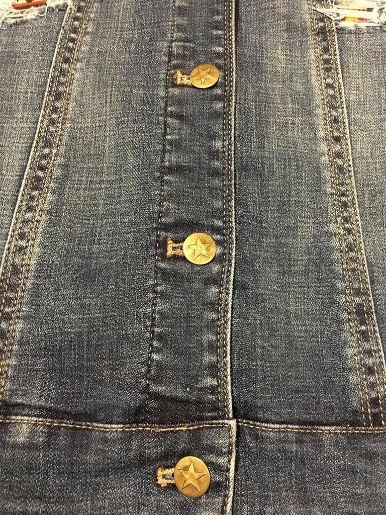 Hermes Vintage La Mecanique des Idees Silk Scarf Distressed Denim Jacket Medium For Sale 1