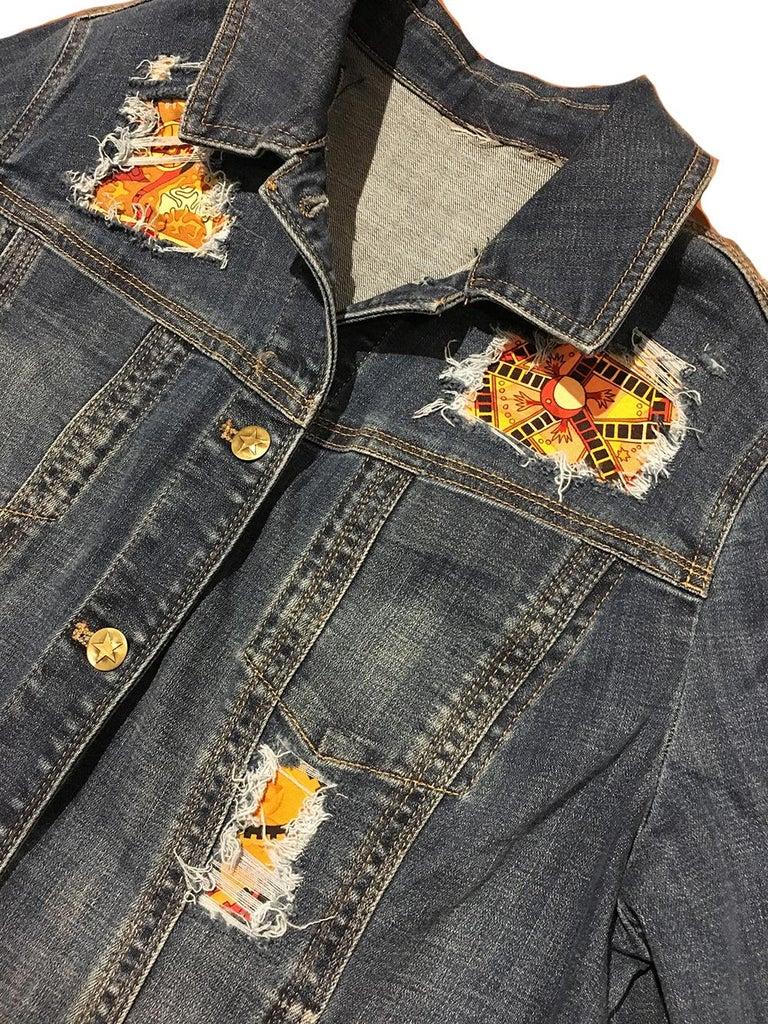 Hermes Vintage La Mecanique des Idees Silk Scarf Distressed Denim Jacket Medium For Sale 2