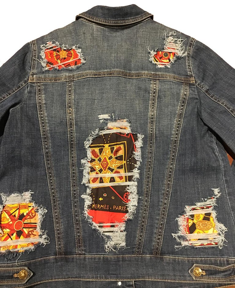 Hermes Vintage La Mecanique des Idees Silk Scarf Distressed Denim Jacket Medium For Sale 4