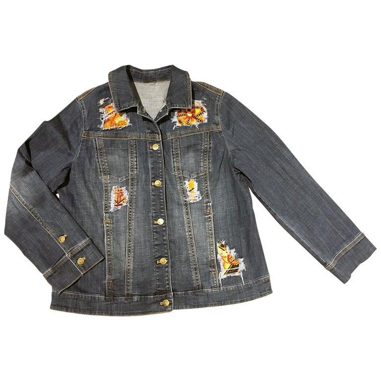 Hermes Vintage La Mecanique des Idees Silk Scarf Distressed Denim Jacket Medium For Sale