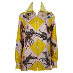 Hermes Vintage Le Monde du Polo Print Silk Shirt