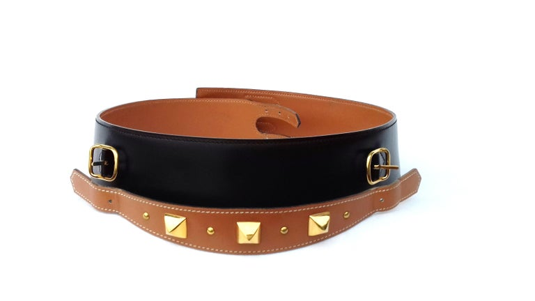 Hermès Vintage Leather Belt Black Medor Removable Ornament Ghw S.75 For Sale 5