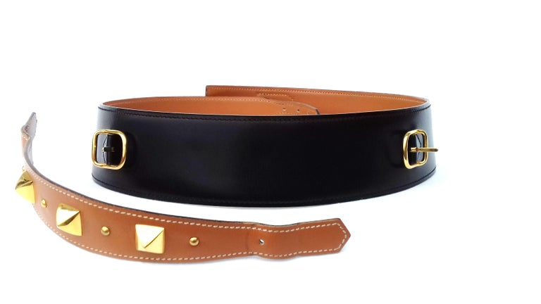 Hermès Vintage Leather Belt Black Medor Removable Ornament Ghw S.75 For Sale 6