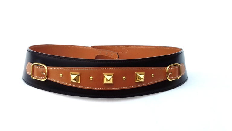 Hermès Vintage Leather Belt Black Medor Removable Ornament Ghw S.75 For Sale 7