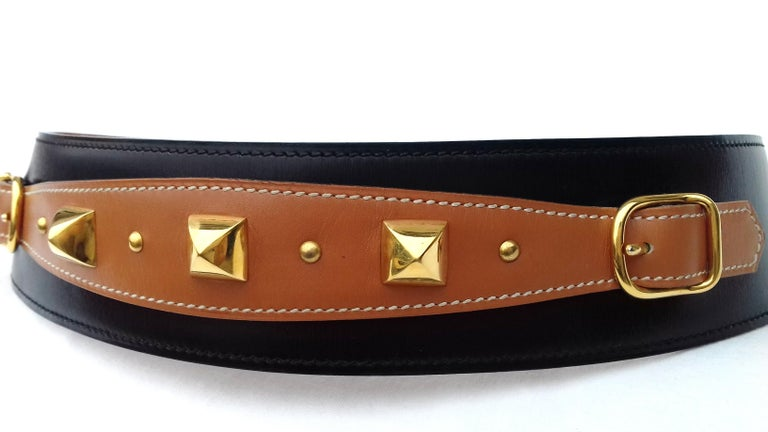 Hermès Vintage Leather Belt Black Medor Removable Ornament Ghw S.75 For Sale 8