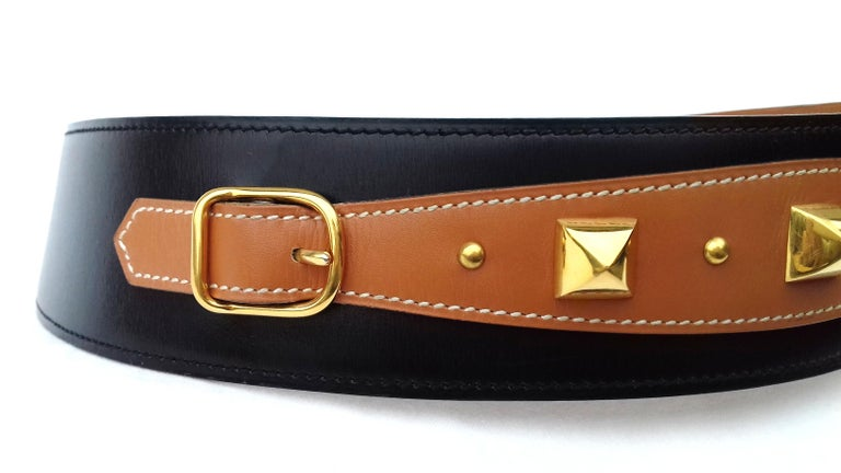 Hermès Vintage Leather Belt Black Medor Removable Ornament Ghw S.75 For Sale 9