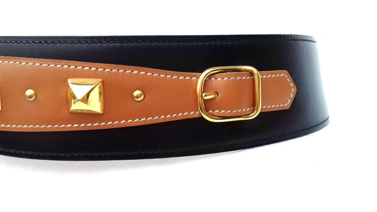 Hermès Vintage Leather Belt Black Medor Removable Ornament Ghw S.75 For Sale 10