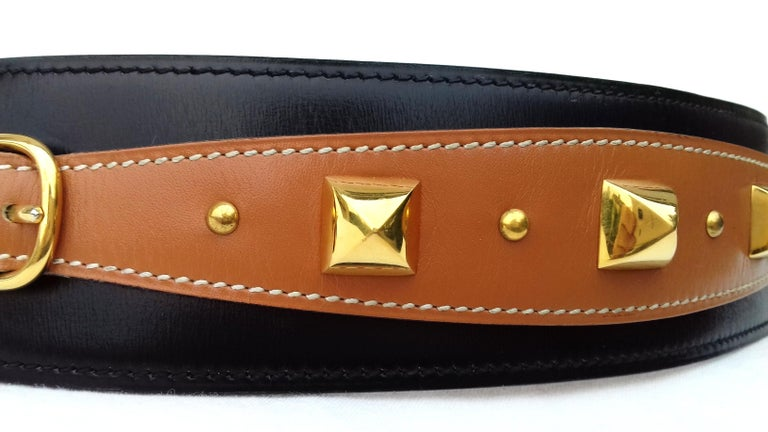 Brown Hermès Vintage Leather Belt Black Medor Removable Ornament Ghw S.75 For Sale