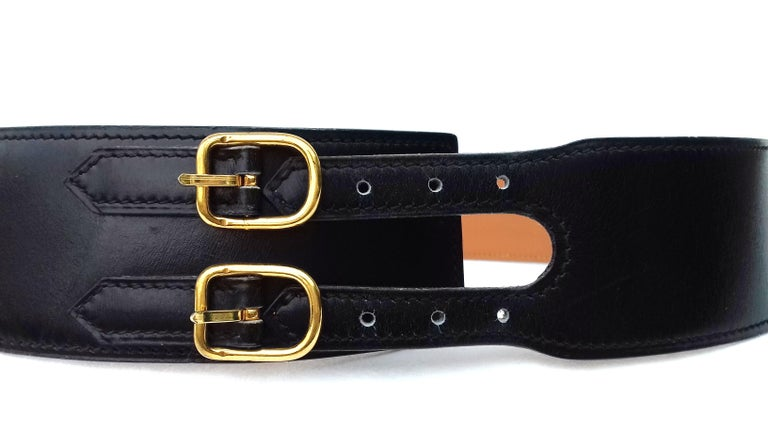 Hermès Vintage Leather Belt Black Medor Removable Ornament Ghw S.75 In Good Condition For Sale In ., FR