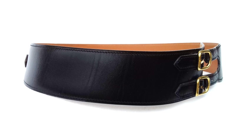Women's Hermès Vintage Leather Belt Black Medor Removable Ornament Ghw S.75 For Sale