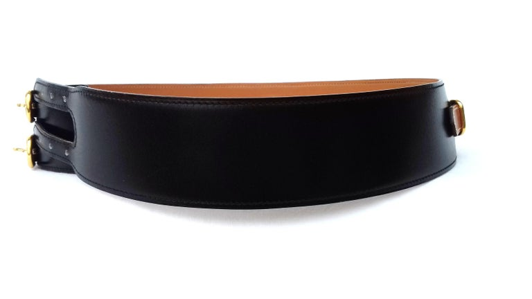 Hermès Vintage Leather Belt Black Medor Removable Ornament Ghw S.75 For Sale 1