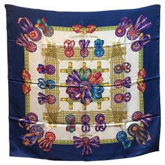 Hermes Vintage Les Rubans du Cheval Silk Scarf in Blue