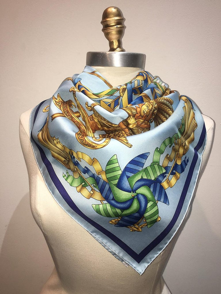 Hermes Vintage Light Blue Les Girouettes Silk Scarf c1999 For Sale 2