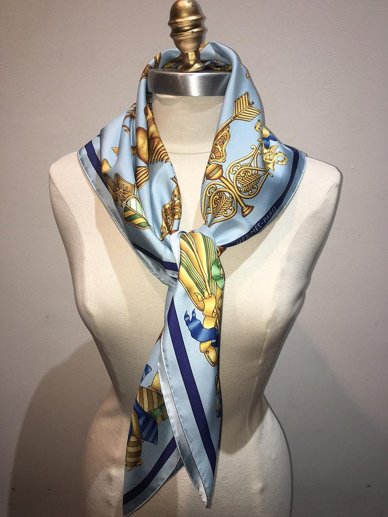 Hermes Vintage Light Blue Les Girouettes Silk Scarf c1999 For Sale 3