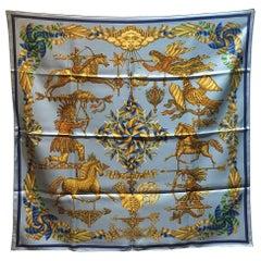 Hermes Vintage Light Blue Les Girouettes Silk Scarf c1999