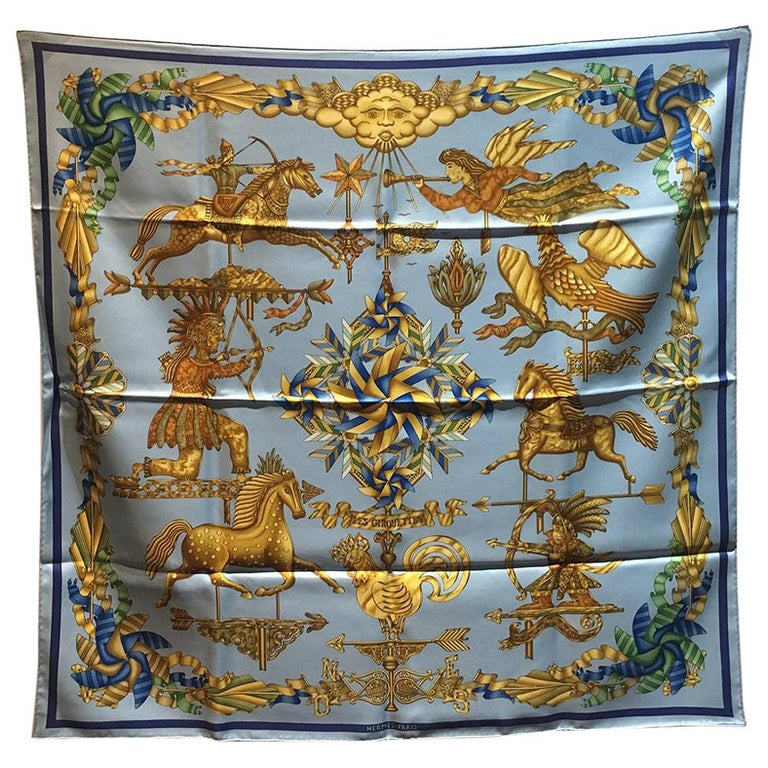 Hermes Vintage Light Blue Les Girouettes Silk Scarf c1999 For Sale
