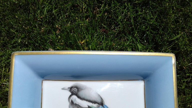 Hermès Vintage Limoges Porcelain Ashtray Change Tray Pie Magpie Xavier de Poret For Sale 5