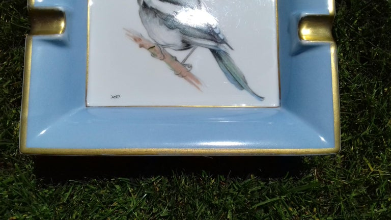 Hermès Vintage Limoges Porcelain Ashtray Change Tray Pie Magpie Xavier de Poret For Sale 6