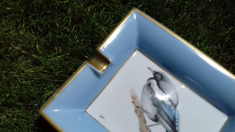 Hermès Vintage Limoges Porcelain Ashtray Change Tray Pie Magpie Xavier de Poret For Sale 7