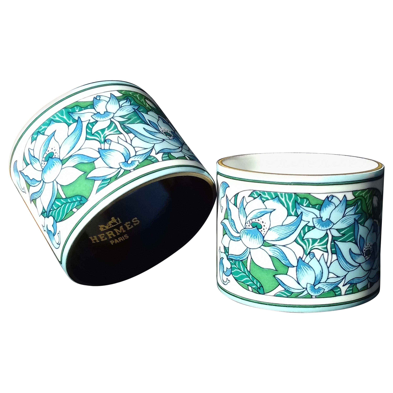 Hermès Vintage Lotus Flowers Enamel Printed Napkin Rings Holders Set of 2