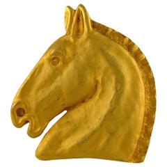 Hermes Vintage Massive Matte Gold Toned Horse Head Brooch