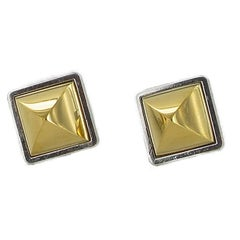 HERMES Vintage Médor Clip-on Earrings in Gilt Metal and Silver Metal