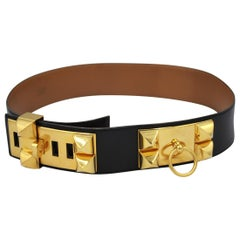 Hermes Vintage Medor Belt in black leather. Size 72