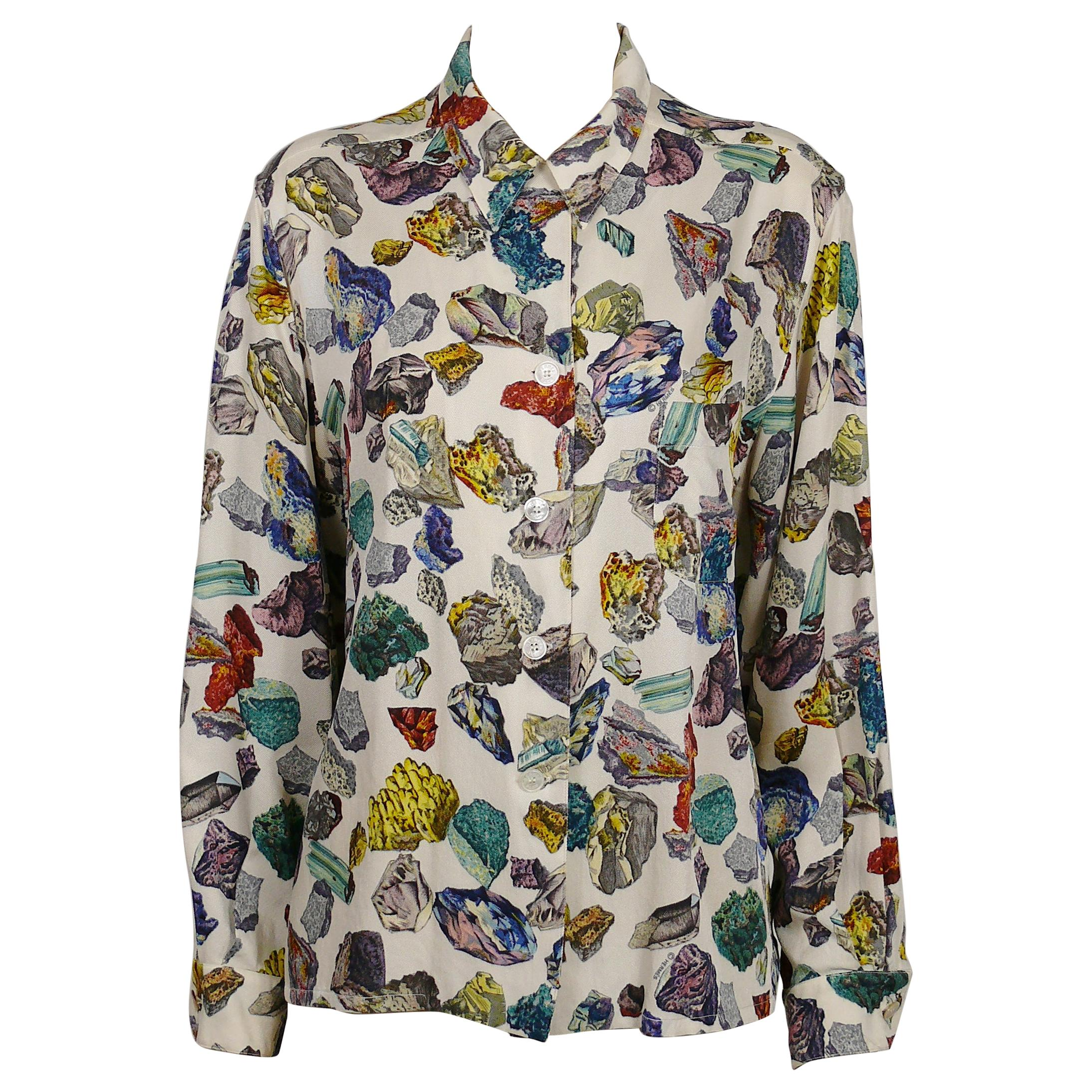 Hermes Vintage Mineraux Silk Shirt Blouse