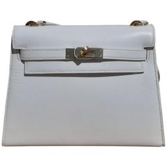 Hermès Vintage Mini Kelly Bag Sellier White Leather Ghw Cross body 20 cm Rare